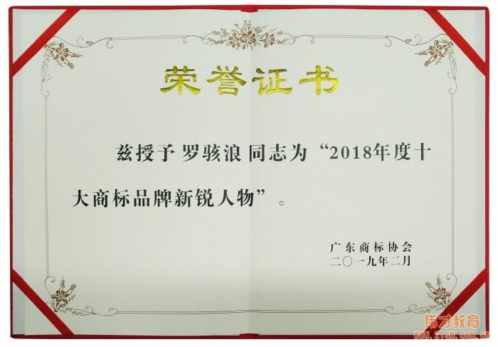 """伟才教育董事长罗骇浪荣获""""2018年度十大商标品牌新锐人物"""""""