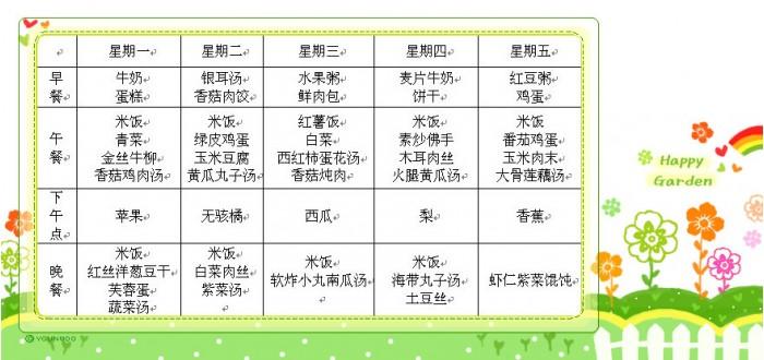公立幼儿园一周食食谱_2018幼儿园带量鱿鱼大谱表怎么蒸图片
